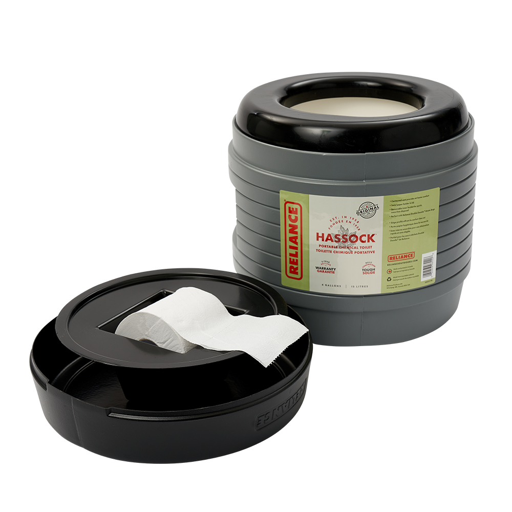 RELIANCE PRODUCTS HASSOCK PORTABLE LIGHTWEIGHT SELF-CONTAINED PORTABLE TOILET